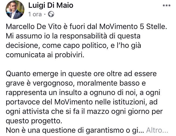 Di Maio Espelle  'De Vito' dalMovimento